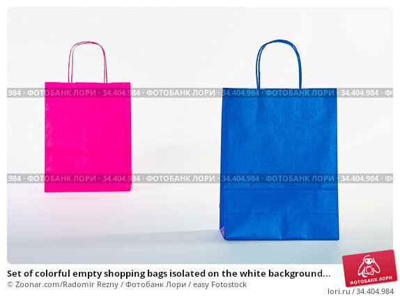 Set of colorful empty shopping bags isolated on the white background... Стоковое фото, фотограф Zoonar.com/Radomir Rezny / easy Fotostock / Фотобанк Лори