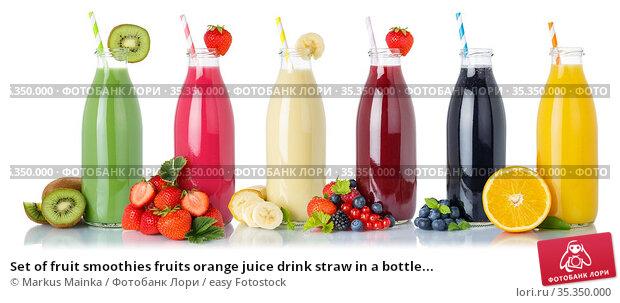 Set of fruit smoothies fruits orange juice drink straw in a bottle... Стоковое фото, фотограф Markus Mainka / easy Fotostock / Фотобанк Лори