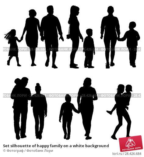Купить «Set silhouette of happy family on a white background», иллюстрация № 28426684 (c) Фотограф / Фотобанк Лори