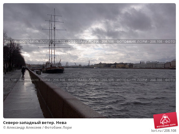 Северо-западный ветер. Нева, эксклюзивное фото № 208108, снято 22 февраля 2008 г. (c) Александр Алексеев / Фотобанк Лори