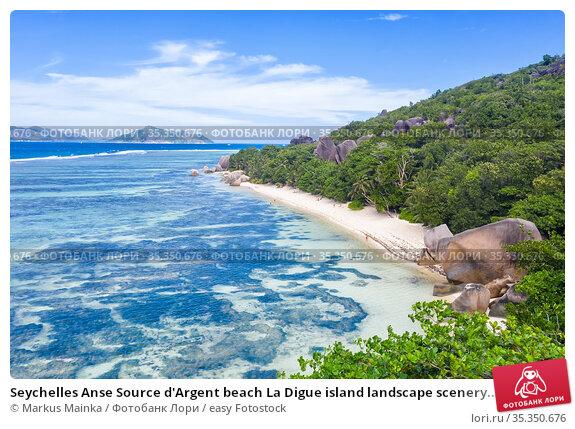 Seychelles Anse Source d'Argent beach La Digue island landscape scenery... Стоковое фото, фотограф Markus Mainka / easy Fotostock / Фотобанк Лори