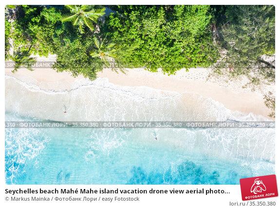 Seychelles beach Mahé Mahe island vacation drone view aerial photo... Стоковое фото, фотограф Markus Mainka / easy Fotostock / Фотобанк Лори
