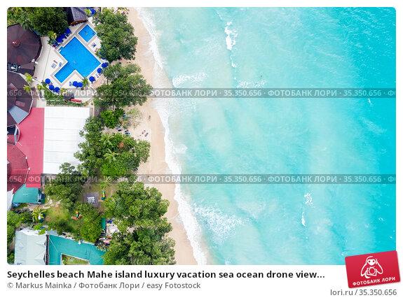 Seychelles beach Mahe island luxury vacation sea ocean drone view... Стоковое фото, фотограф Markus Mainka / easy Fotostock / Фотобанк Лори