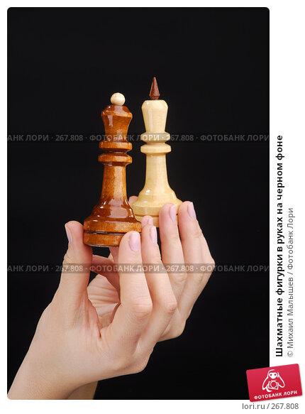 Шахматные фигурки в руках на черном фоне, фото № 267808, снято 8 февраля 2008 г. (c) Михаил Малышев / Фотобанк Лори