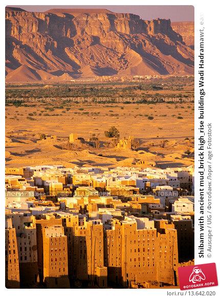 Shibam with ancient mud_brick high_rise buildings Wadi Hadramawt, eastern Yemen. Стоковое фото, фотограф Auscape / UIG / age Fotostock / Фотобанк Лори