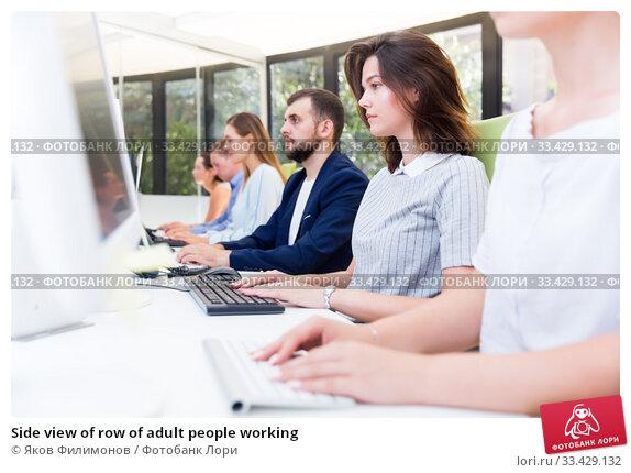 Купить «Side view of row of adult people working», фото № 33429132, снято 1 августа 2018 г. (c) Яков Филимонов / Фотобанк Лори
