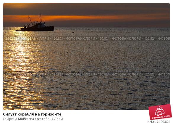 Силуэт корабля на горизонте, эксклюзивное фото № 120824, снято 21 ноября 2006 г. (c) Ирина Мойсеева / Фотобанк Лори