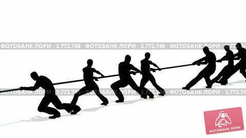 Купить «Силуэты на белом фоне. Люди перетягивают канат», видеоролик № 3772748, снято 24 февраля 2009 г. (c) Losevsky Pavel / Фотобанк Лори