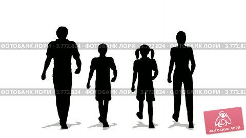 Купить «Силуэты на белом фоне. Семья с двумя детьми», видеоролик № 3772824, снято 25 февраля 2009 г. (c) Losevsky Pavel / Фотобанк Лори
