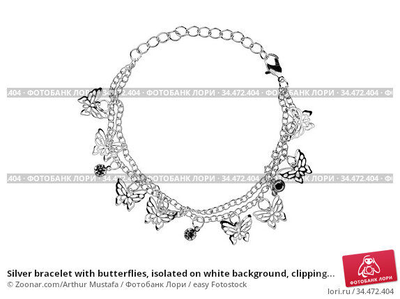 Silver bracelet with butterflies, isolated on white background, clipping... Стоковое фото, фотограф Zoonar.com/Arthur Mustafa / easy Fotostock / Фотобанк Лори