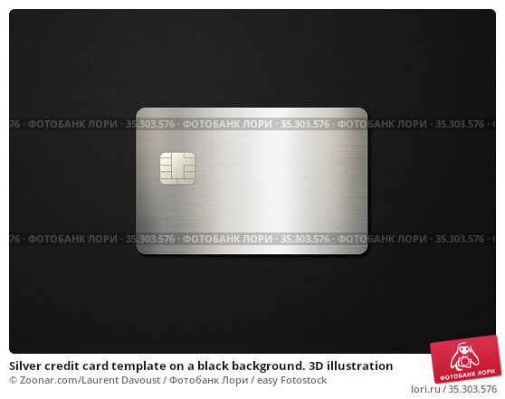 Silver credit card template on a black background. 3D illustration. Стоковое фото, фотограф Zoonar.com/Laurent Davoust / easy Fotostock / Фотобанк Лори