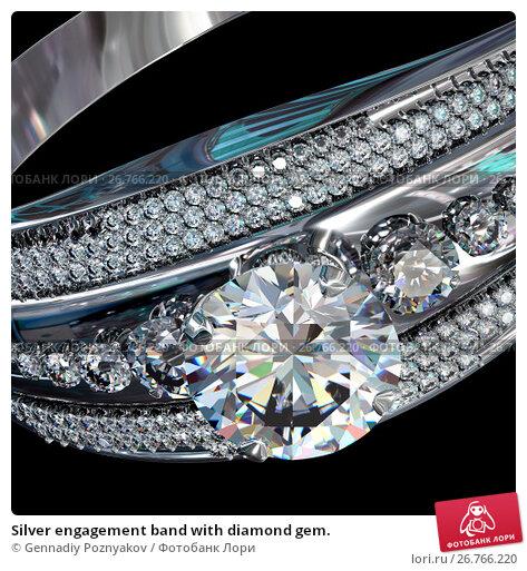 Купить «Silver engagement band with diamond gem.», иллюстрация № 26766220 (c) Gennadiy Poznyakov / Фотобанк Лори