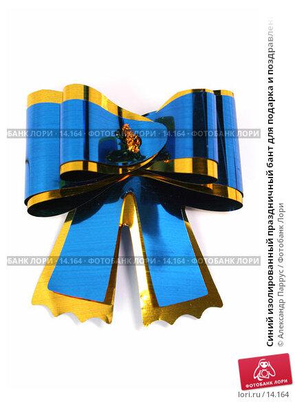 Синий изолированный праздничный бант для подарка и поздравления, фото № 14164, снято 25 ноября 2006 г. (c) Александр Паррус / Фотобанк Лори