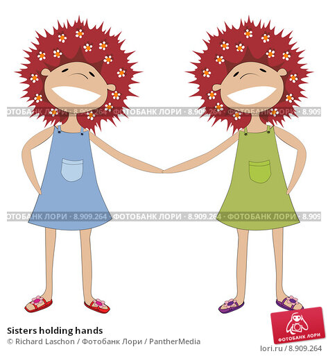 Cartoon Sisters Holding Hands  Circuit And Wiring DIagram