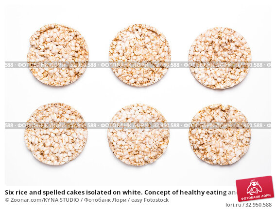 Six rice and spelled cakes isolated on white. Concept of healthy eating and diet. Стоковое фото, фотограф Zoonar.com/KYNA STUDIO / easy Fotostock / Фотобанк Лори