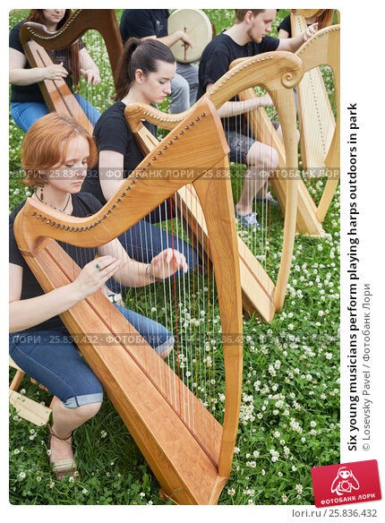 Купить «Six young musicians perform playing harps outdoors in park», фото № 25836432, снято 19 июня 2016 г. (c) Losevsky Pavel / Фотобанк Лори