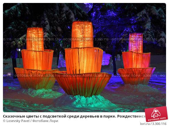 Купить «Сказочные цветы с подсветкой среди деревьев в парке. Рождественская уличная иллюминация», фото № 3300116, снято 27 декабря 2010 г. (c) Losevsky Pavel / Фотобанк Лори
