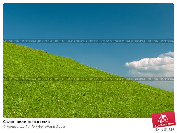 Склон зеленого холма, фото № 81316, снято 9 августа 2007 г. (c) Александр Fanfo / Фотобанк Лори