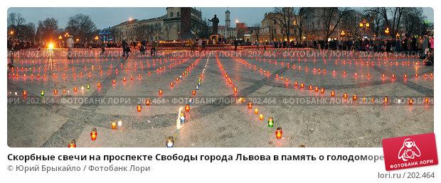 Скорбные свечи на проспекте Свободы города Львова в память о голодоморе 1933 г. на Украине, фото № 202464, снято 17 августа 2017 г. (c) Юрий Брыкайло / Фотобанк Лори
