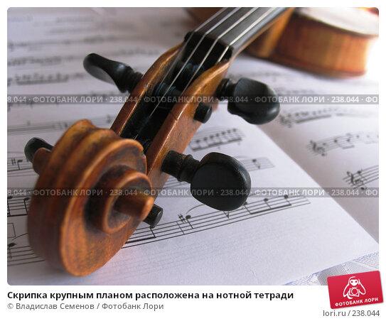 Скрипка крупным планом расположена на нотной тетради, фото № 238044, снято 23 марта 2008 г. (c) Владислав Семенов / Фотобанк Лори