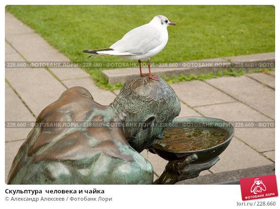 Скульптура  человека и чайка, эксклюзивное фото № 228660, снято 29 июля 2006 г. (c) Александр Алексеев / Фотобанк Лори