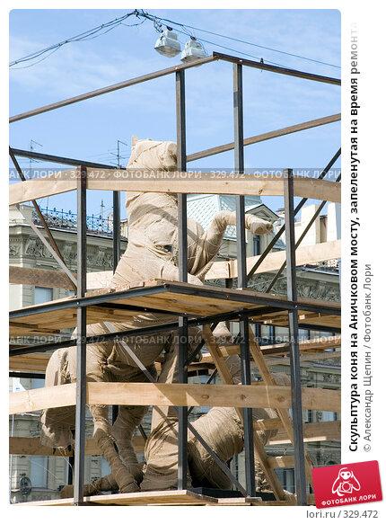 Купить «Скульптура коня на Аничковом мосту, запеленутая на время ремонта», эксклюзивное фото № 329472, снято 16 июня 2008 г. (c) Александр Щепин / Фотобанк Лори