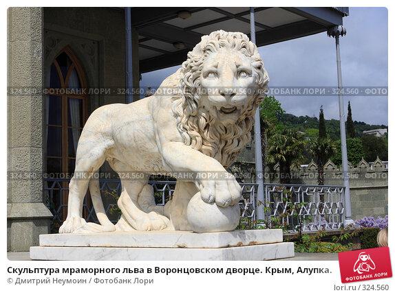 Скульптура мраморного льва в Воронцовском дворце. Крым, Алупка., эксклюзивное фото № 324560, снято 29 апреля 2008 г. (c) Дмитрий Неумоин / Фотобанк Лори
