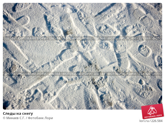 Следы на снегу, фото № 226584, снято 15 декабря 2007 г. (c) Минаев С.Г. / Фотобанк Лори