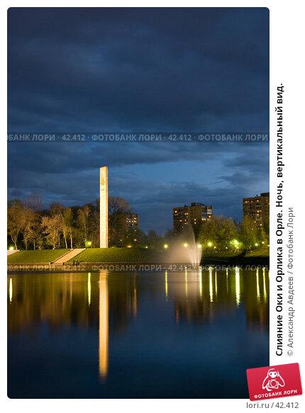 Слияние Оки и Орлика в Орле. Ночь, вертикальный вид., фото № 42412, снято 10 мая 2007 г. (c) Александр Авдеев / Фотобанк Лори
