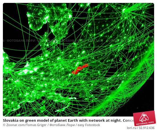 Slovakia on green model of planet Earth with network at night. Concept of green technology, communication and travel. 3D illustration. Elements of this image furnished by NASA. Стоковое фото, фотограф Zoonar.com/Tomas Griger / easy Fotostock / Фотобанк Лори