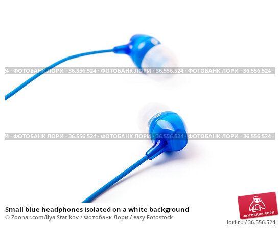 Small blue headphones isolated on a white background. Стоковое фото, фотограф Zoonar.com/Ilya Starikov / easy Fotostock / Фотобанк Лори