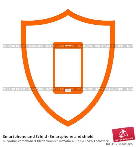 Smartphone und Schild - Smartphone and shield. Стоковое фото, фотограф Zoonar.com/Robert Biedermann / easy Fotostock / Фотобанк Лори