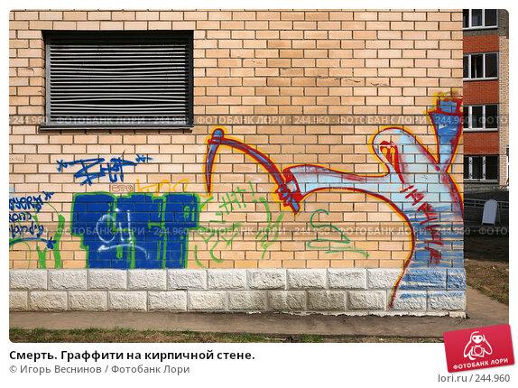 Купить «Смерть. Граффити на кирпичной стене.», фото № 244960, снято 6 апреля 2008 г. (c) Игорь Веснинов / Фотобанк Лори