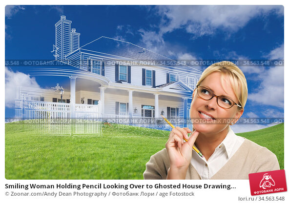 Smiling Woman Holding Pencil Looking Over to Ghosted House Drawing... Стоковое фото, фотограф Zoonar.com/Andy Dean Photography / age Fotostock / Фотобанк Лори