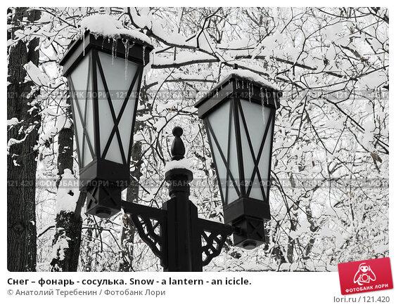 Купить «Снег – фонарь - сосулька. Snow - a lantern - an icicle.», фото № 121420, снято 16 ноября 2007 г. (c) Анатолий Теребенин / Фотобанк Лори