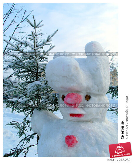Снеговик, фото № 218232, снято 28 июля 2017 г. (c) ElenArt / Фотобанк Лори