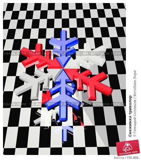 Снежинка триколор, иллюстрация № 155404 (c) Геннадий Соловьев / Фотобанк Лори