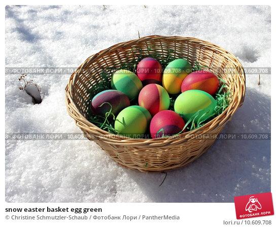 snow easter basket egg green. Стоковое фото, фотограф Christine Schmutzler-Schaub / PantherMedia / Фотобанк Лори