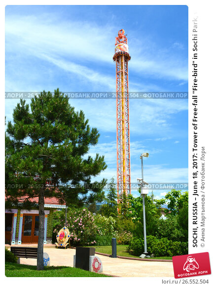"SOCHI, RUSSIA – June 18, 2017: Tower of Free-fall ""Fire-bird"" in Sochi Park, which entered the TOP-25 of the best parks in Europe in 2016, фото № 26552504, снято 18 июня 2017 г. (c) Анна Мартынова / Фотобанк Лори"