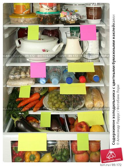 Купить «Содержимое холодильника с цветными бумажными наклейками», фото № 89172, снято 26 сентября 2007 г. (c) Александр Паррус / Фотобанк Лори