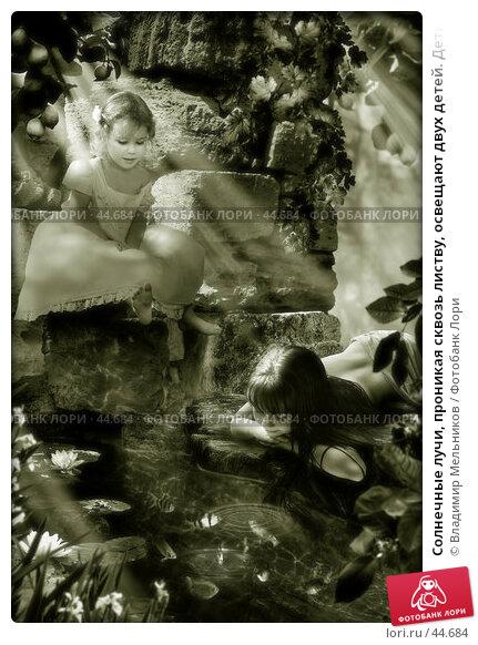 Солнечные лучи, проникая сквозь листву, освещают двух детей. Дети наблюдают за игрой маленьких рыбок в бассейне., фото № 44684, снято 24 октября 2016 г. (c) Владимир Мельников / Фотобанк Лори