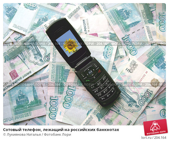 Сотовый телефон, лежащий на российских банкнотах, фото № 204164, снято 17 февраля 2008 г. (c) Лукиянова Наталья / Фотобанк Лори