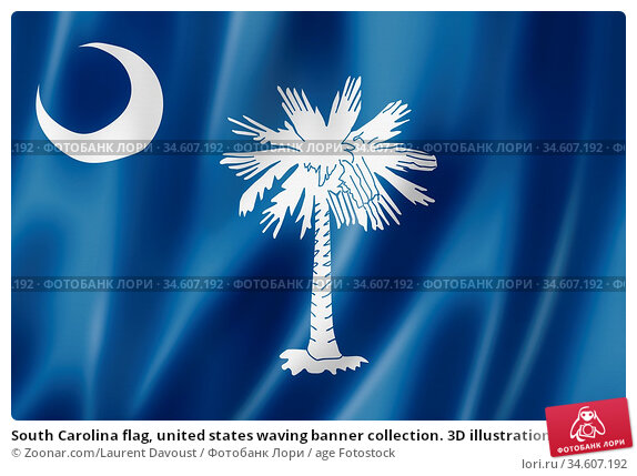 South Carolina flag, united states waving banner collection. 3D illustration. Стоковое фото, фотограф Zoonar.com/Laurent Davoust / age Fotostock / Фотобанк Лори