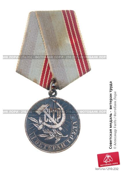 Советская медаль -  ветеран труда, фото № 210232, снято 19 января 2017 г. (c) Александр Fanfo / Фотобанк Лори