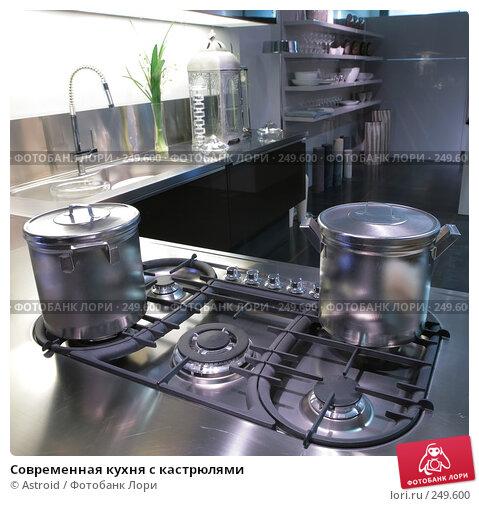 Современная кухня с кастрюлями, фото № 249600, снято 8 апреля 2008 г. (c) Astroid / Фотобанк Лори