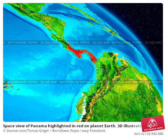 Купить «Space view of Panama highlighted in red on planet Earth. 3D illustration. Elements of this image furnished by NASA.», фото № 32542840, снято 10 декабря 2019 г. (c) easy Fotostock / Фотобанк Лори