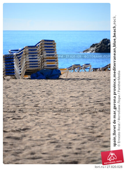 Купить «spain,lloret de mar,gerona province,mediterranean,blue,beach,rock,», фото № 27820028, снято 19 октября 2018 г. (c) PantherMedia / Фотобанк Лори