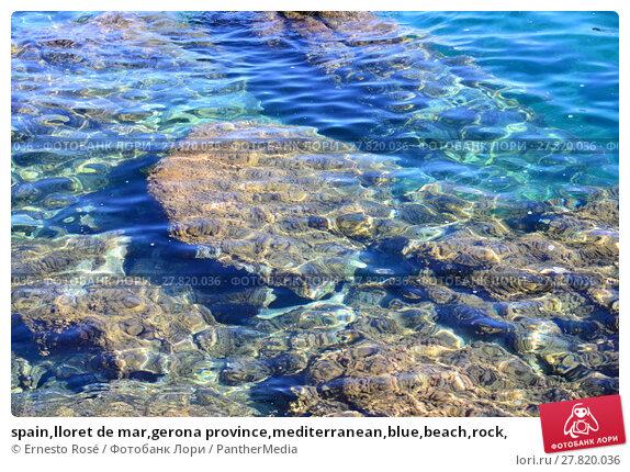 Купить «spain,lloret de mar,gerona province,mediterranean,blue,beach,rock,», фото № 27820036, снято 18 октября 2018 г. (c) PantherMedia / Фотобанк Лори