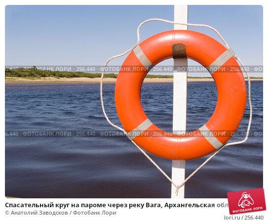 Спасательный круг на пароме через реку Вага, Архангельская область, фото № 256440, снято 2 августа 2006 г. (c) Анатолий Заводсков / Фотобанк Лори