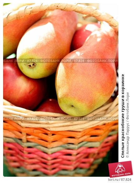 Спелые краснобокие груши в корзинке, фото № 87824, снято 8 сентября 2007 г. (c) Александр Паррус / Фотобанк Лори